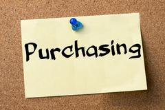 Purchasing - adhesive label pinned on bulletin board Stock Photos