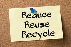 Reduce Reuse Recycle - adhesive label pinned on bulletin board Stock Photos