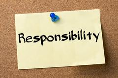 Responsibility - adhesive label pinned on bulletin board Stock Photos