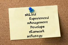SkiLled Experienced mAnagement Develops tEamwork stRategy LEADER - adhesive.. Stock Photos