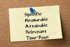 Specific Measurable Attainable Releveant Time-Bound SMART - adhesive label .. Stock Photos
