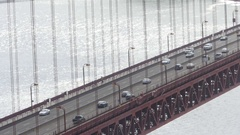 Lots of cars on the Golden gate bridge, in San Fransisco, California, Unite.. Stock Footage