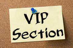 VIP Section - adhesive label pinned on bulletin board Stock Photos
