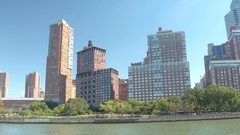 CLOSE UP: Luxury riverfront residential housing in Lower Manhattan New York City Stock Footage