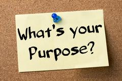 Whats your Purpose? - adhesive label pinned on bulletin board Stock Photos