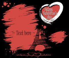 Valentine's Day. Eiffel Tower and grunge banner Stock Illustration