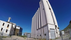 Wide Tilt Grain Elevators To Abandoned Mill Building Tempe Arizona Stock Footage