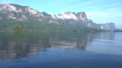 View from boat on Cheow Lan lake in Thailand Stock Footage