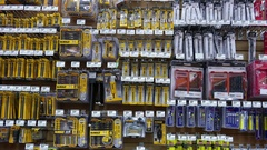 Pan shot of display tools inside Home Depot store with 4k resolution Stock Footage