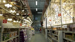Motion of recessed lighting corridor at Home Depot store with 4k resolution Stock Footage