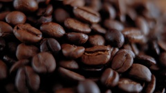 Close up shot of Coffee beans Stock Footage