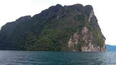 Cheow Lan lake from moving boat in Thailand Stock Footage