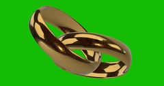 Yelow Golden Wedding Rings Rotation Loop Green Background Stock Footage