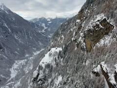 Mountain valley in winter - Little village Stock Footage