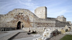 Pan of the medieval castle of Zamora, Spain Stock Footage
