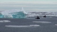Diving in the background of icebergs, ice, in Arctic Ocean. Stock Footage