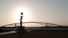 Sunset on the statue of the goddess in Penghu, Taiwan. Stock Footage
