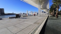 Pedestrian promenade in the port area of Malaga Stock Footage