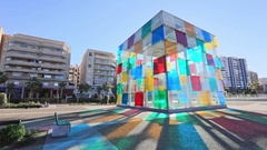 Colorful glass cube wich is entrance to Centre Pompidou in Malaga Stock Footage