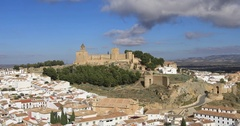 Zoom in view on Alcazaba fortress in Antequera Stock Footage