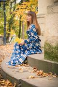 Beautiful girl in park autumn Stock Photos