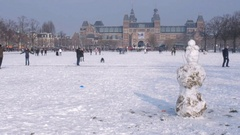 Museumplein snow Stock Footage