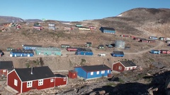 Houses in the city on the shores of Arctic Ocean in Greenland. General plan. Stock Footage