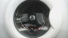 Internal view of a washing machine drum. Close-up Stock Footage