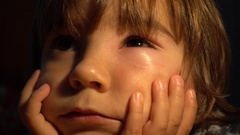 Swollen face of child after a bee bite Stock Footage
