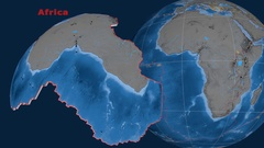 Africa tectonics featured. Topo and bathy Stock Footage