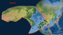 Amur tectonics featured. Topography Stock Footage