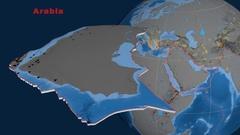 Arabia tectonics featured. Topo and bathy Stock Footage