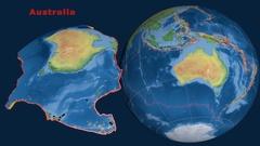 Australia tectonics featured. Natural Earth Stock Footage