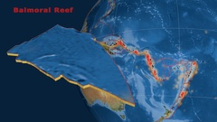 Balmoral Reef tectonics featured. Satellite imagery Stock Footage