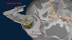 Banda Sea tectonics featured. Elevation grayscale Stock Footage