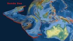 Banda Sea tectonics featured. Relief Stock Footage