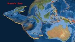 Banda Sea tectonics featured. Satellite imagery Stock Footage