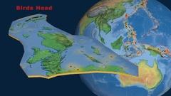 Birds Head tectonics featured. Natural Earth Stock Footage