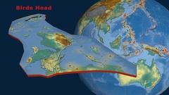 Birds Head tectonics featured. Relief Stock Footage