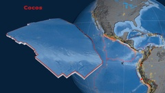 Cocos tectonics featured. Topo and bathy Stock Footage