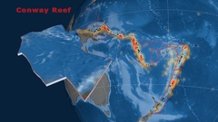 Conway Reef tectonics featured. Topo and bathy Stock Footage