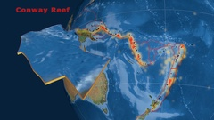 Conway Reef tectonics featured. Satellite imagery Stock Footage