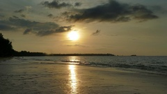 Landscape with sunset on tropical beach, Thailand Stock Footage