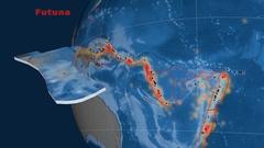 Futuna tectonics featured. Topo and bathy Stock Footage