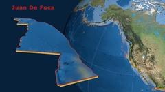 Juan De Fuca tectonics featured. Satellite imagery Stock Footage