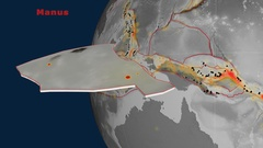 Manus tectonics featured. Elevation grayscale Stock Footage