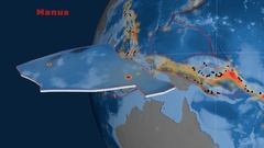 Manus tectonics featured. Topo and bathy Stock Footage