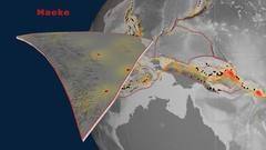 Maoke tectonics featured. Elevation grayscale Stock Footage