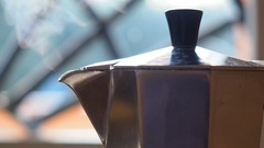 Close up moca pot making coffee Stock Footage