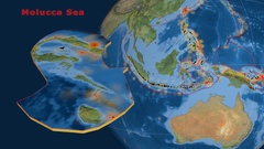 Molucca Sea tectonics featured. Satellite imagery Stock Footage